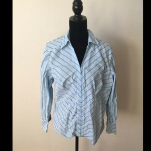 Lane Bryant Blue Striped Button Down Top